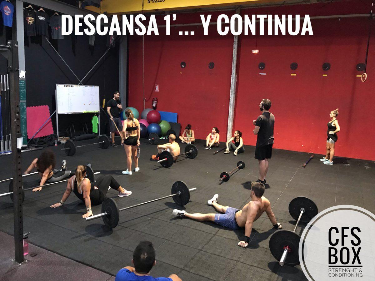 Wod CFS Box CrossFit Sevilla training descansa continua